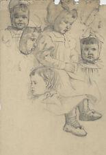 Carl Kessler (*1876): Kleine Mädchen/Kinderportät (Porträt-Studien). - Bleistift