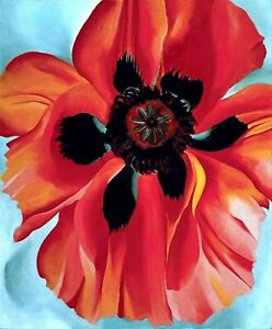 Poppies Flower HandPainted Georgia Totto O'Keeffe Oil Painting Reproduction Canv