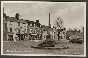 Postcard Market Bosworth nr Leicester shops Post Office Cross in Market Place