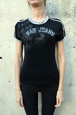 Nero di raccolta Jeans GAS Donna CASUALS T Shirt Top Stretch Slim Fit L Bello