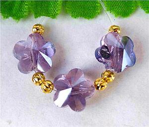 10x7mm 3Pcs Purple Titanium Crystal Flower Height Hole Pendant Bead BT96249