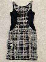Jacqui E Women's Black White Corporate Wear Business Sleeveless Dress Size 10