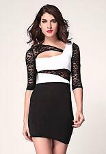 Unbalanced Lace Sleeves Mini Bodycon Dress Black White