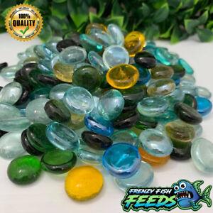 Aquarium Decorative Glass Pebbles Beads Stones Fish Tank Aquascape (200g to 3kg)