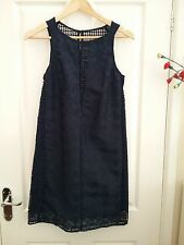 Next Womens Navy Blue Over Lace Tailored Shift Dress Size 8 BNWT