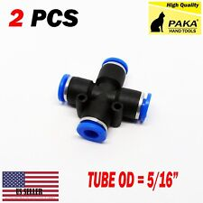 """2X 5/16"""" (8mm Pneumatic Equal Cross Union Push In Fitting Quick Connect Air Tube"""