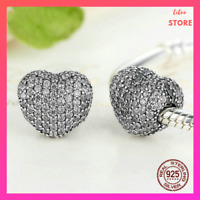 Genuine 925 Sterling Silver Charm Bead Sparkling Heart luxury