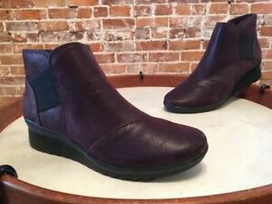 Clarks Cloud Steppers Aubergine Caddell Tropic Wedge Ankle Boot New