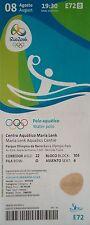 TICKET 8.8.2016 Olympia Rio Wasserball Men's Japan - Brasilien E72