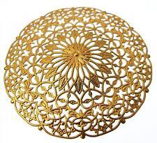 1 Brass Filligree Disc Pendant Vintage Steampunk Jewellery Making 56.5mm