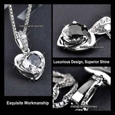 Silver Heart Crystal Pendant Necklaces Gift For Her Wife Women SALE BLACK FRIDAY