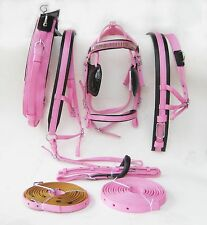NEW NYLON POPULAR HORSE DRIVING HARNESS BLACK/PINK COLOR AVAILABLE IN COB SIZE