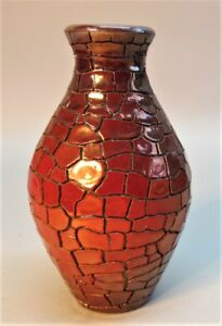 Gorgeous Signed ZSOLNAY RED EOSIN HUNGARIAN Art Pottery Vase  c. 1900  antique