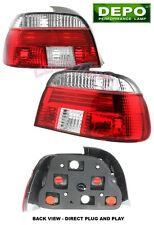1996-2000 BMW E39 E-39 5-Series RED CLEAR TAIL LIGHTS DEPO 525i 540i 2pcs Set