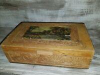 Antique Carved Wood Dovetailed Mirrored Dresser Box Vanity Trinket Chest Estate
