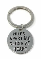 925 Silver Plt Miles Apart But Close At Heart Engraved Keyring Distance A