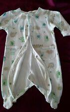 PUMPKIN PATCH baby onesie 3-6mnths mint blue white clips feet vgc maybe unused