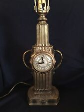 Retro United Clock Corp. Art Deco Cast Metal Mid-Century Table Lamp with Clock