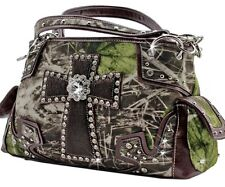 Western Mossy Oak Camo Purse Horse Hair Cross Rhinestones Cowgirl Handbags Brown