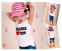 New Baby Kid children Boys Papa Mama Love me Girl summer Cotton Vest singlet