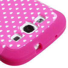 For Samsung Galaxy S III 3 Rubber IMPACT TUFF HYBRID Case Cover Pink Heart Dots