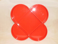 Vintage MOD Red Plastic Serving Tray Geometric