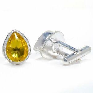 Aaa+++ Citrine 925 Sterling Silver Jewelry Cufflink Mens Jewelry T1677