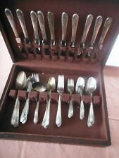 VTG Silverplate FLATWARE for 10 in BOX + Accessories Wm Rogers Mfg Co IS