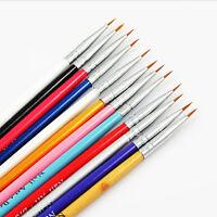 12 Pcs Colorful Nail Art Design Brush Pen Fine Details Tips Drawing Paint Set XR