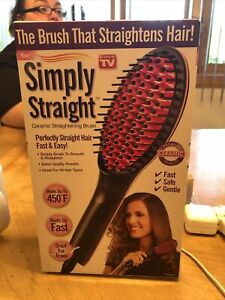 NEW Sealed Simply Straight Heated Ceramic Straightening Brush Hair Straightener