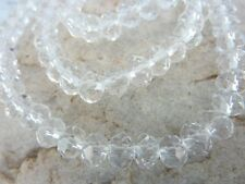 70 pce Clear Faceted Crystal Cut Abacus Glass Beads 8mm x 6mm