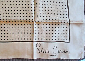 "1970's VTG Pierre Cardin Silk Scarf Pocket Square 19"" X 18.5"" Beige Brown"