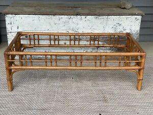 Original Vintage Mid Century Modern Coffee Table Bamboo Look Wood Leather Frame