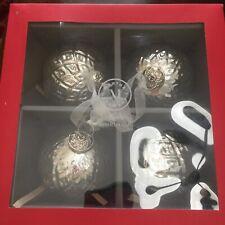 Martha Stewart Christmas Ornaments Silver Glass Ornaments Set Of 4