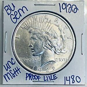 1922 BU GEM SILVER PEACE DOLLAR COIN #1480 FREE SHIPPING UNC MS+++
