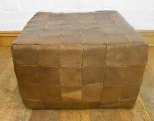 Vintage retro leather cube stool / footstool