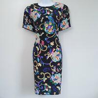 Vintage Diane Von Furstenberg Silk Sheath Dress Birds Butterflies Crickets Sz 12