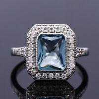 925 Silver Aquamarine Topaz Fashion Wedding Rings Couple Jewelry Wholesale 6-10