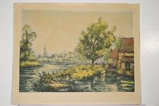 Manuel ROBBE Vieux Moulin et Rivière Gravure à l'Aquatinte signée v 1930