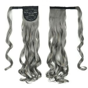 Gray Color Long Wavy Ponytail Wrap Around Ponytail Clip in Hair Extensions