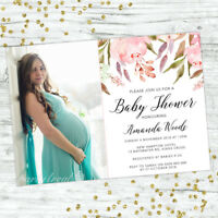 BABY SHOWER INVITATIONS PERSONALISED PARTY INVITES FLORAL PINK GIRL BOHO CHIC