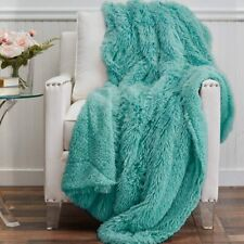 The Connecticut Home Company Shag with Sherpa Reversible Throw Blanket, Many Col