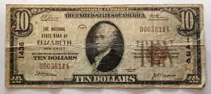 Rare ELIZABETH NJ New Jersey 1929 $10 National Currency Bank Note Charter #1436