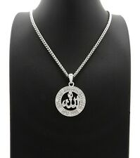 Iced Silver PT Muslim Allah Pendant & Box Cuban Rope Chain Hip Hop Necklace