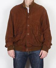 "Suede Bomber Harrington Jacket Coat Large L XL 44"" Brown (A4F)"