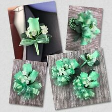 New Artificial Mint Rose Corsage, Mint Rose Mother's Corsage, Mint Boutonniere