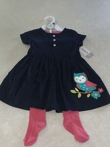 CARTER'S Baby Girls 2 Piece Set Navy Blue Owl Dress & Pink Tights Set 24 Months