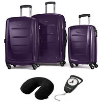 Samsonite Winfield 2 Fashion Hardside 3Pcs Spinner Set Purple + Pillow & Scale