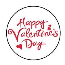 """48 HAPPY VALENTINES DAY ENVELOPE SEALS LABELS STICKERS 1.2"""" ROUND"""