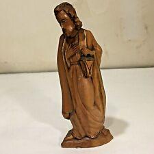 Vtg Anri? Joseph w Lantern 6.25� Xmas Nativity Hand Carved Wooden Figure Italy